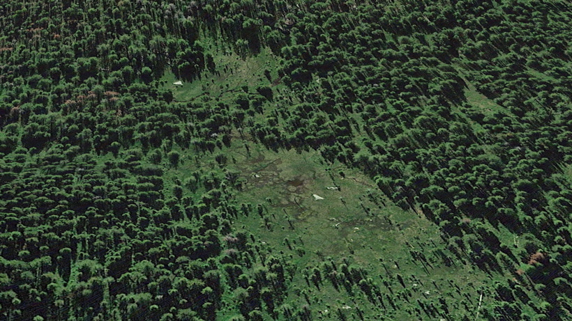 Potential elk wallow areas scouted on Goolge Earth