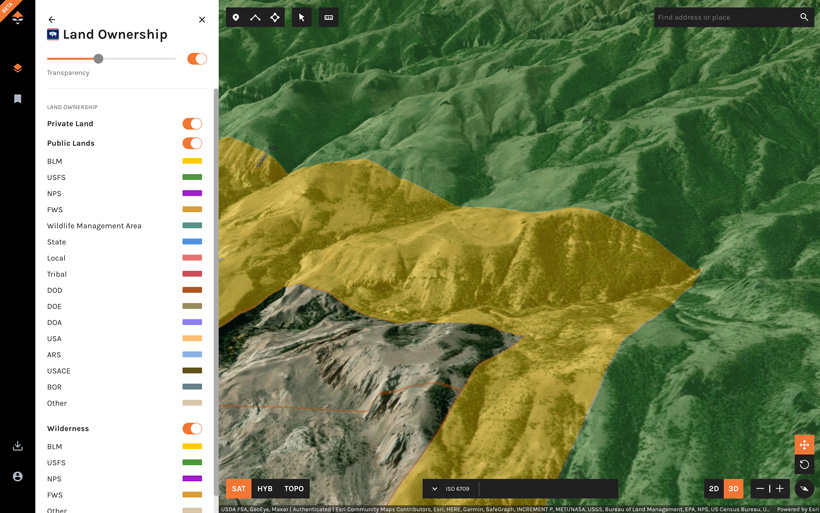 Public land and private land layer on goHUNT Maps