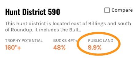 Public land percentage for hunt district