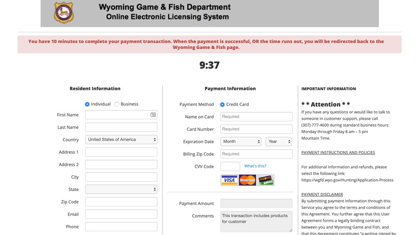 Purchase page for Wyoming preference points
