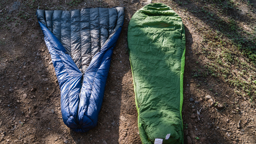 Quilt versus sleeping bag for hunting bottom view