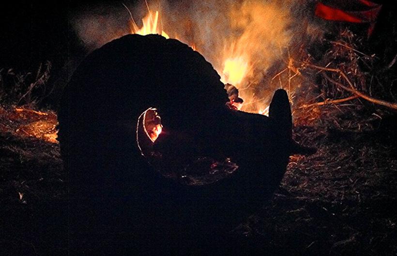 Ram head next to campfire