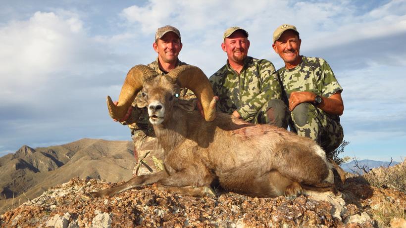 Randy Johnson with a bighorn sheep