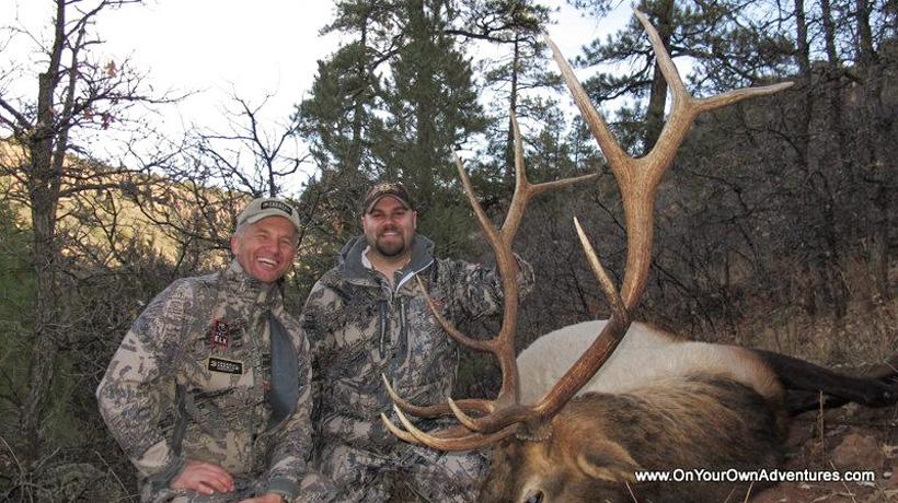 Randy Newberg and Lee Havemeier with an Arizona bull elk