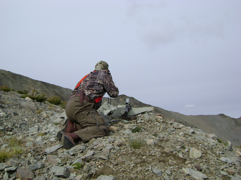 Ranging a mountain goat for a shot