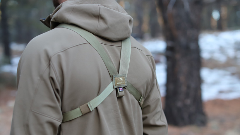 Rear straps on Marsupial Gear bino pack
