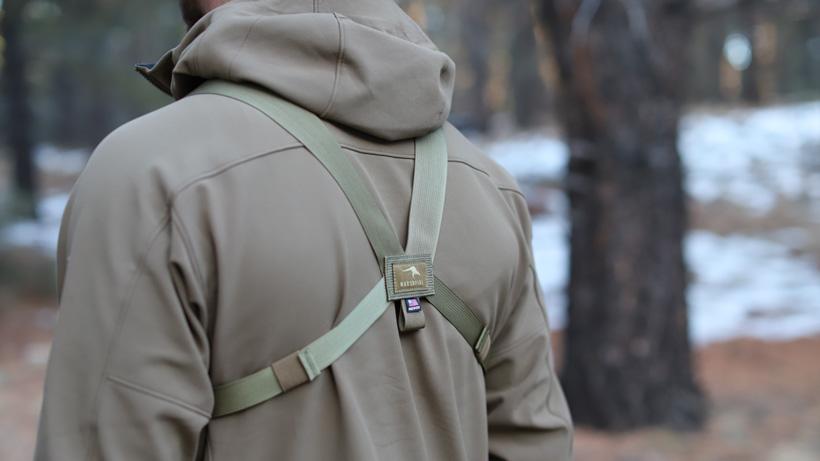 Rear straps on Marsupial Gear bino pack