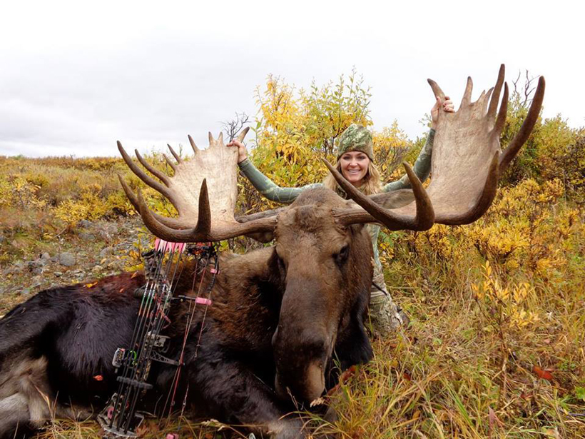 Rebecca Francis with a giant archery moose
