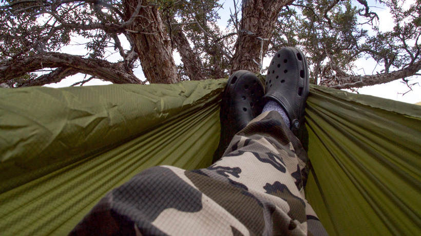 Relaxing back at camp on a solo hunt