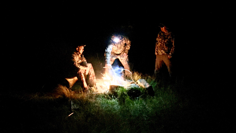 Relaxing campfire in New Zealand
