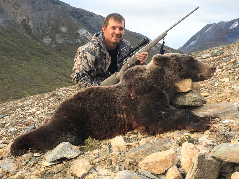 Ricky Roman with his British Columbia grizzly bear