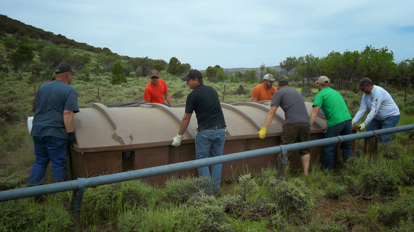 Rocky Mountain Elk Foundation volunteers on a water tank project