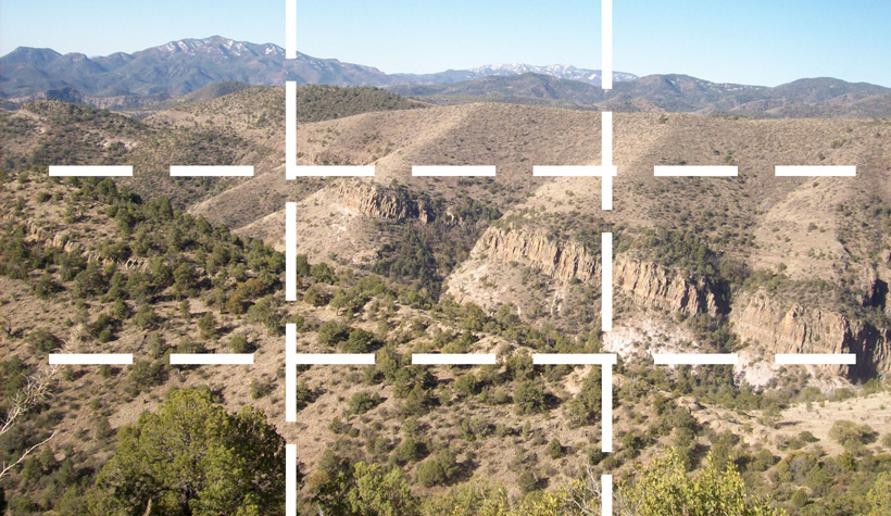 Rule of thirds gridline for glassing high mountain desert