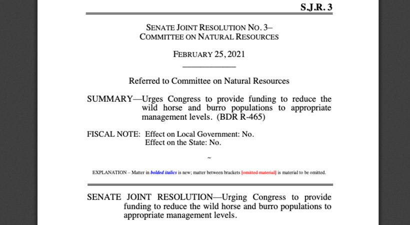 SJR3 reduce feral horse and burro populations