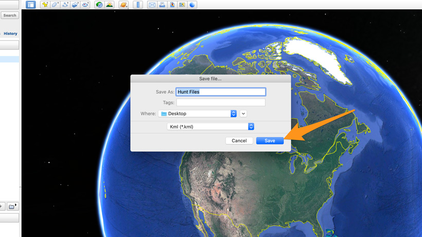 Save KML file to desktop