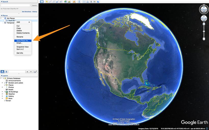 Save hunt waypoint folder on Google Earth