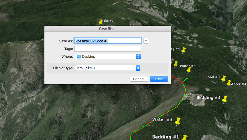Saving your elk scouting research on Google Earth