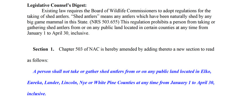 Screenshot from commission reports on Nevada shed hunting season