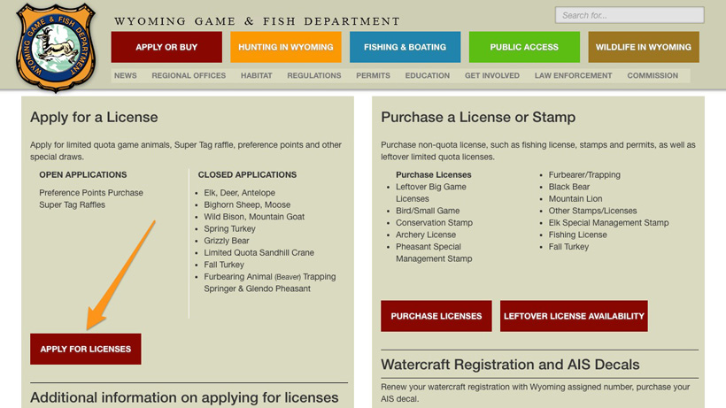 Screenshot of Wyoming apply for hunting license page