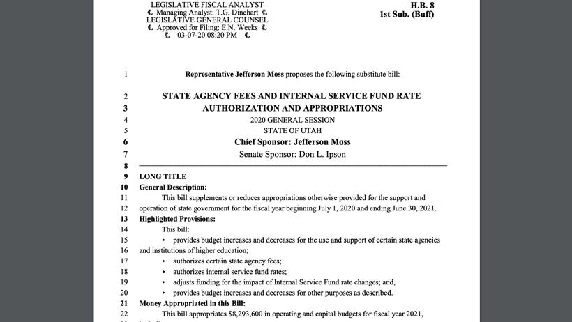 Screenshot of House bill 8 in Utah