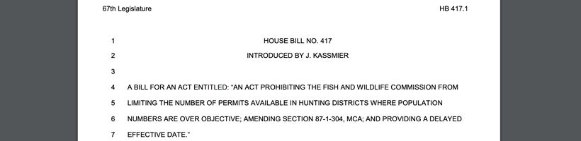 Screenshot of Montana HB 417 that impacts special permit hunts