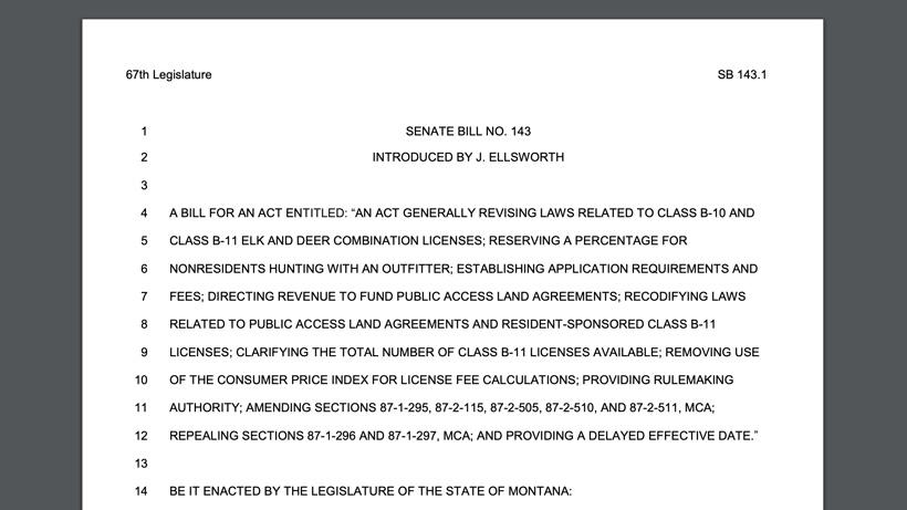 Screenshot of Montana Senate Bill 143