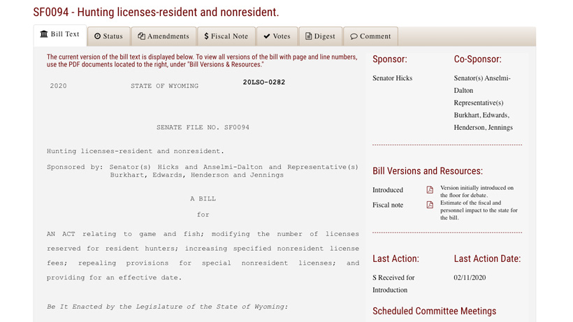Screenshot of Wyoming bill SF0094