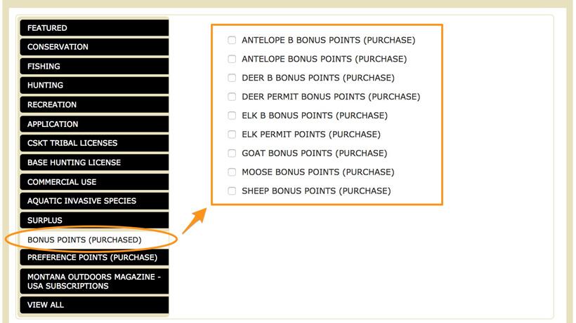Screenshot of the new Montana bonus point application page