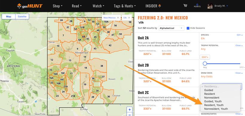 Screenshot showcasing youth hunting information on INSIDER