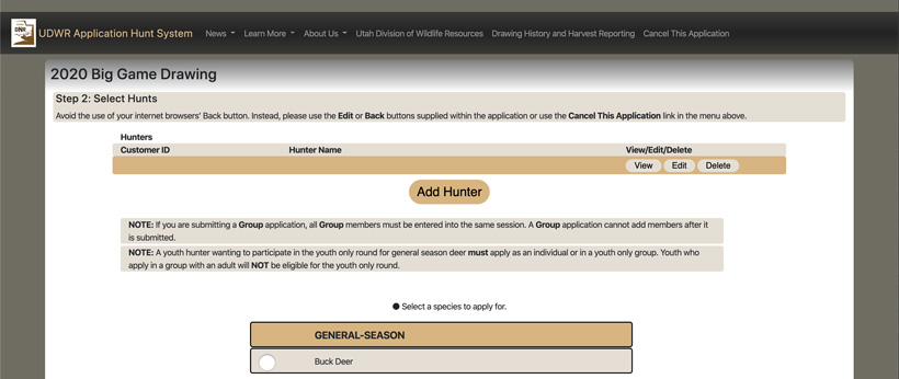 Select species to purchase points main page
