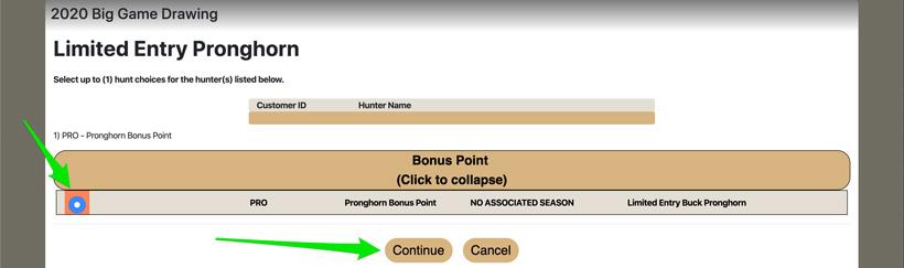 Selecting Utah species bonus point