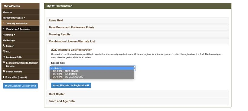 Selecting combo license for alternate list