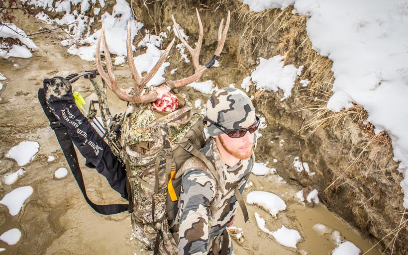Selfie mule deer packout