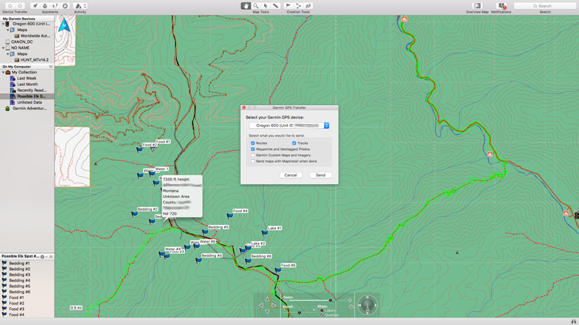Sending your elk scouting information to your GPS