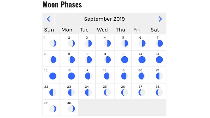 September 2019 moon phase