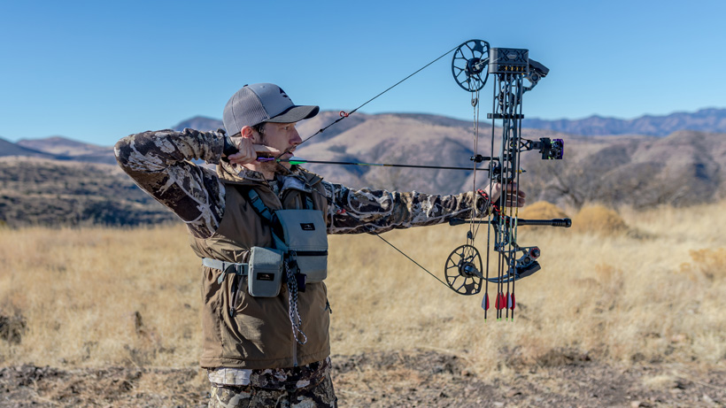 Seth Webb at full draw with his Mathews bow