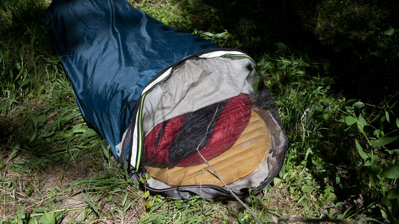 Showing the bug net on a bivy sack
