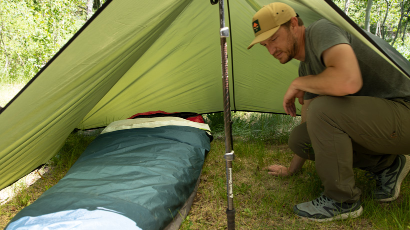 Showing the room of a bivy sack camp setup