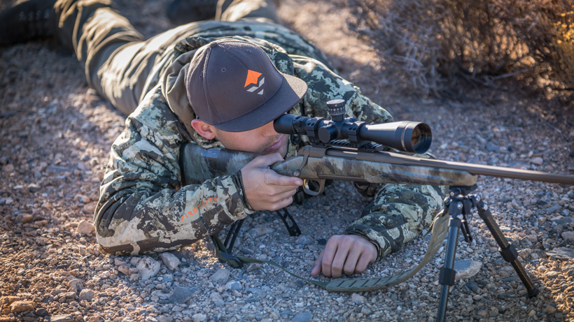 Simulated hunting practice with a Browning rifle