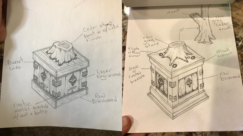 Sketches of deer mount pedestal