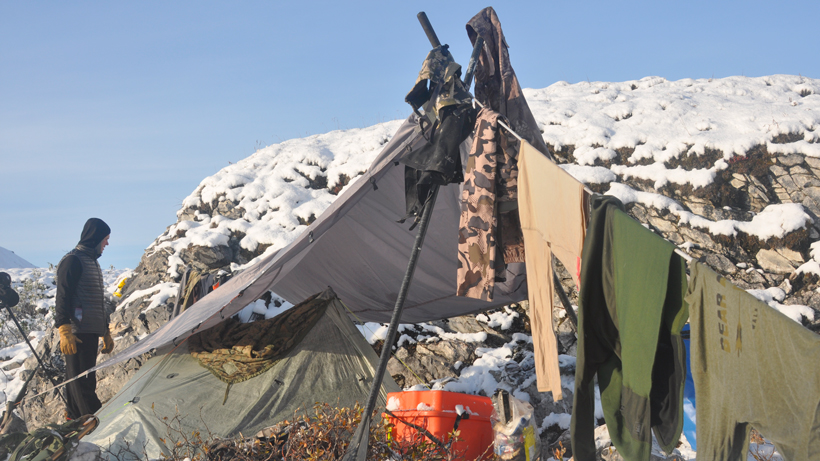 Dying out some clothes in the backcountry