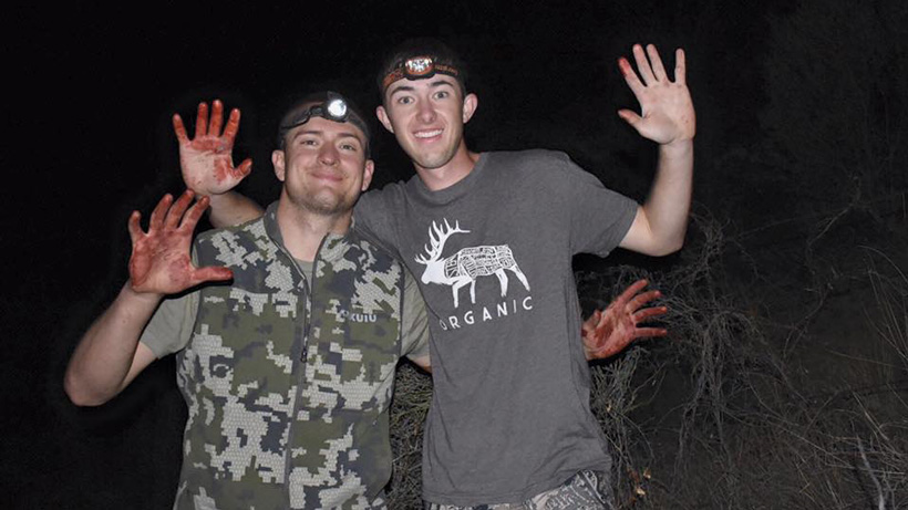 Smiles after cutting up Arizona Coues deer meat