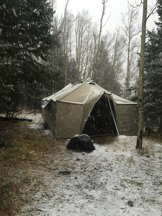 Snow day at elk hunting camp