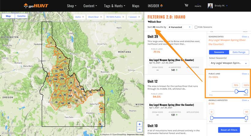 Sorting black bear units by public land percentage