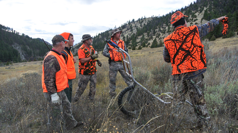 Spotting the bull elk for packing out