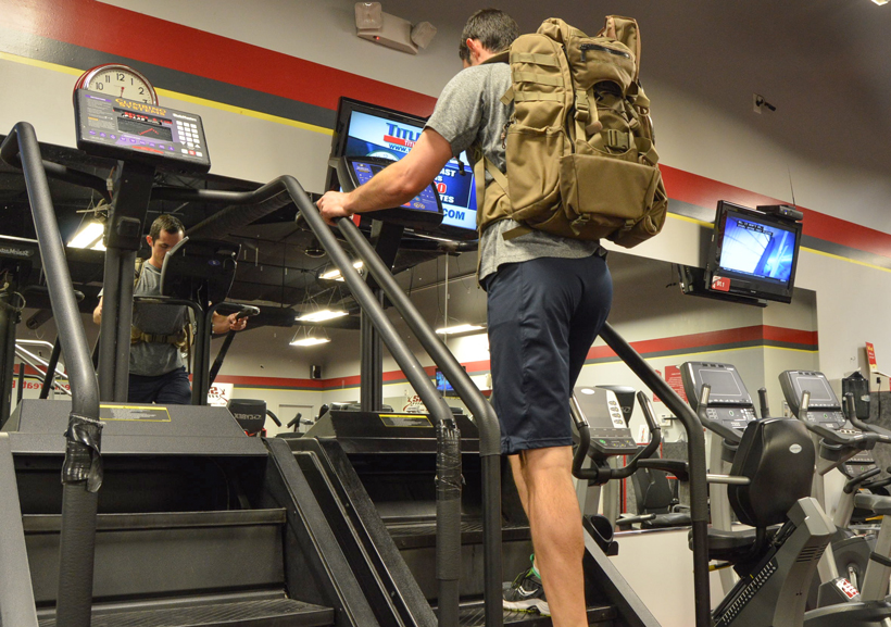 Stair climber with pack on