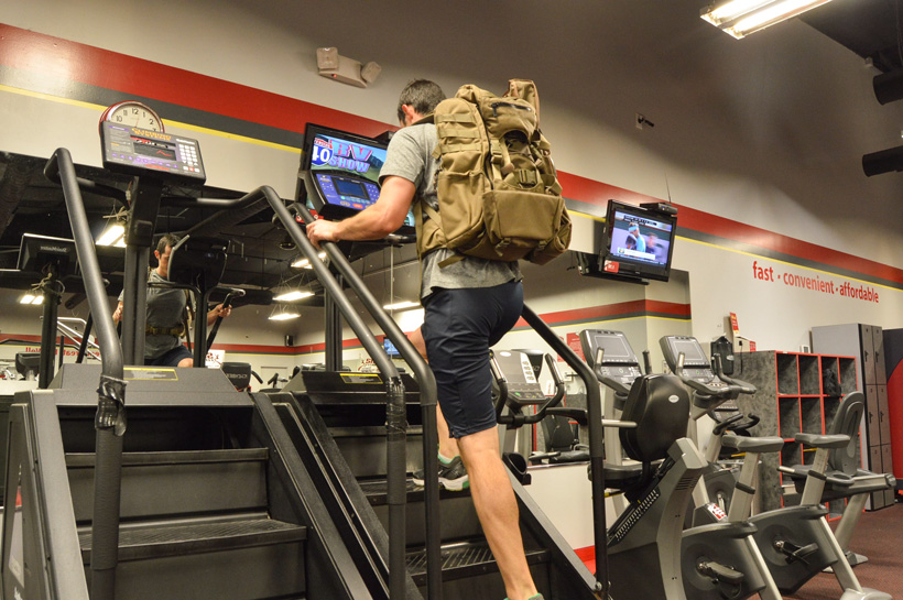 Stair climbers with weighted backpack for hunt training