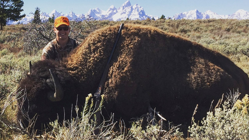 Stephan Roaque with his Wyoming bison