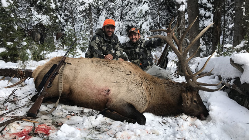 Steve Greanias and Avo with a Wyoming bull elk