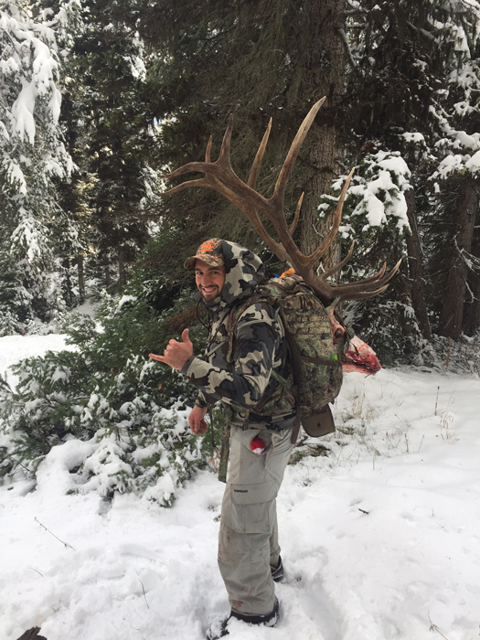 Steve Greanias packing out his Wyoming elk